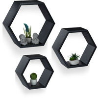 Relaxdays Hexagonal Wall Shelf, Hanging Wooden Bookcase Set of 3, Floating Shelves, Sturdy, MDF, Black
