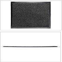 Relaxdays Grey Dirt Trapping Mat, Indoor Doormat, Large Dirt Catcher, Thin Door Mat, 60x90 cm, Black-Grey