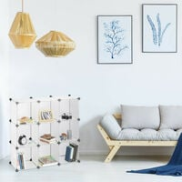 Relaxdays Shelving System, Plastic Room Divider, Standing Shelf with 9 Compartments, 95 x 95 x 32 cm, Transparent