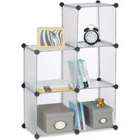 Relaxdays Shelving System with 6 Compartments, Open Standing Shelf, Modular Plastic Wardrobe, H x W x D: 65 x 96 x 32 cm, Transparent