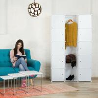 Relaxdays 11-Compartment Shelving Unit Wardrobe, Modular Plug-In Plastic Shelf, 2 x Clothes Rails, White