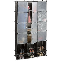Relaxdays Plastic Modular Wardrobe System, Shelf with 2 Clothes Rail, Versatile Shelving System, Black