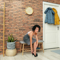 Relaxdays Bamboo Shoe Bench for 2, Padded Storage Rack for up to 4 Pairs, Comfy Shoe Stand, Natural-Grey