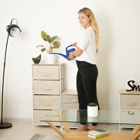 Relaxdays Shelving System, Chest of Drawers, Standing Shelf with 4 Boxes, HxWxD: 105 x 45 x 30 cm, Metal and Wood, Beige