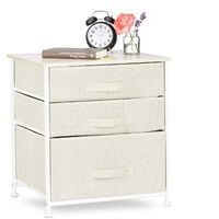 Relaxdays Shelving System, Chest of Drawers, Standing Shelf with 3 Boxes, HxWxD: 53 x 48 x 40 cm, Metal and Wood, Beige
