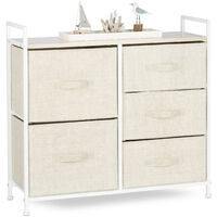 Relaxdays Shelving System, Chest of Drawers, Standing Shelf with 5 Boxes, HxWxD: 77.5 x 83 x 29 cm, Metal and Wood, Beige