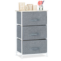 Relaxdays Shelving System, Chest of Drawers, Standing Shelf with Boxes, HxWxD: 73 x 45 x 30 cm, Metal and Wood, Grey