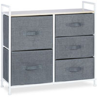 Relaxdays Shelving System, Chest of Drawers, Standing Shelf with Boxes, HxWxD: 77.5 x 83 x 29 cm, Metal and Wood, Grey