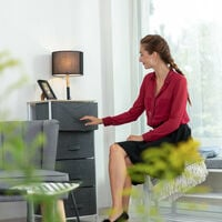 Relaxdays Shelving System, Chest of Drawers, Standing Shelf with Boxes, HxWxD: 76 x 84 x 29 cm, Metal and Wood, Grey