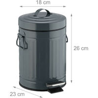 """Relaxdays 3 L """"Retro"""" Pedal Bin, Includes Liner Bucket with Handle, Stainless Steel Hands-free Trashcan, Grey"""