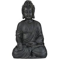 Relaxdays Sitting Buddha Figurine, 40 cm, Feng Shui, Outdoor, Garden, Décor, Big Zen Buddha Figurine, Dark Grey