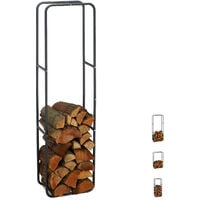 Relaxdays Firewood Rack, Log Stacking Aid, Steel, For In- and Outdoor Use, Wood Pile Shelf, H x W 150 x 40 cm, Anthracite