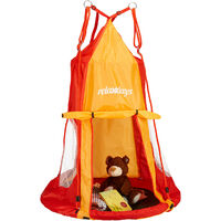 Relaxdays Tent For Swing Nest, Cover for Swinging Seat Disc, Hanging Swivel Chair Accessory, 90 cm, Red/Orange