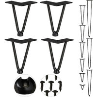 Relaxdays Hairpin Legs, Set of 4, 2 Bars, Metal, Table Support for Shelf and Stool, 15 cm, Black