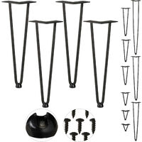 Relaxdays Hairpin Legs, Set of 4, 2 Bars, Metal, Table Support for Shelf and Stool, 40 cm, Black