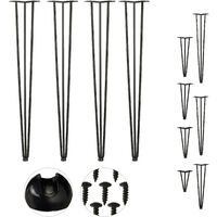 Relaxdays Hairpin Legs, Set of 4, 3 Bars, Metal, Table Support for Shelf and Stool, 86 cm, Black