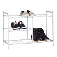 Relaxdays Shoe Rack SANDRA with 3 Shelves, Metal Shoe Storage with Boot Shelf, Size: 50.5 x 70 x 26 cm, for 8 Pairs of Shoes, with Handles, White