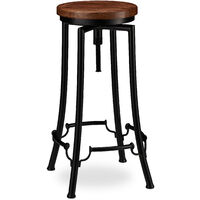 Relaxdays Industrial Barstool, Swivel Bar Seat, Vintage Chair, Iron & Wood, Height-Adjustable to 77.5 cm, Black/Brown