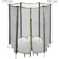 Relaxdays Garden Trampoline Safety Net with Padded Poles, Security Netting, Ø 244 cm, Black