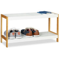 Relaxdays 2-Tier Shoe Rack, Robust Hallway Shoe Storage Shelf, Bamboo & MDF, HWD 36.5 x 70 x 26 cm, White/Natural
