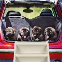 Relaxdays Dog Stairs, 4 Steps, Pets Access Ramp, Climbing Aid Bed, Sofa & Car, Max. 100 kg, 49x39x61 cm, Grey
