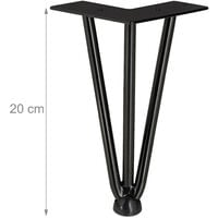 Relaxdays Hairpin Legs, Set of 4, 3 Bars, Metal, Table Support for Shelf and Stool, 20 cm, Black