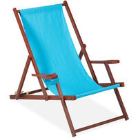Relaxdays folding deck chairs set of 2, wood, 3 reclining positions, armrest & drinks holder, 120kg, beach chair, blue