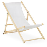 Relaxdays folding deck chair, wood & fabric cover, 3 reclining positions, 120kg, beach chair, white cover