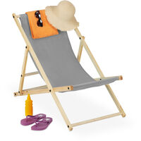 Relaxdays folding deck chair, wood & fabric cover, 3 reclining positions, 120kg, beach chair, grey cover
