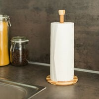 Relaxdays Bamboo Kitchen Roll Holder, Wooden Countertop Paper Towel Stand, 33 x 15 x 5 cm, Toilet Paper Stand, Natural