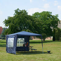Relaxdays Gazebo 3x3 m, 2 Side Walls, Metal Frame, PE Cover, Window, Enclosed Festival Party Tent Event Shelter, Blue
