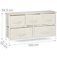 Relaxdays Shelving System, Chest of Drawers, Standing Shelf with 5 Boxes, HxWxD: 54.5 x 100 x 30 cm, Metal and Wood, Beige