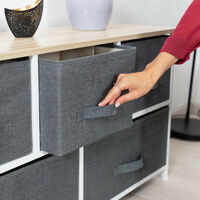 Relaxdays Shelving System, Chest of Drawers, Standing Shelf with Boxes, HxWxD: 54.5 x 100 x 30 cm, Metal and Wood, Grey