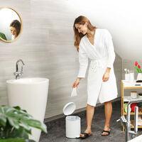 Relaxdays pedal bin, 5 litres, soft-closing mechanism, removable inner bin, bathroom waste bin, metal, white