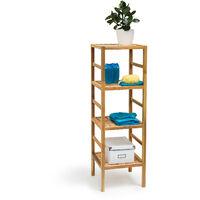 Relaxdays Bathroom Rack with 4 Shelves, Free-Standing, 117 x 35.5 x 35.5 cm, Walnut Wood, Shelving Unit, Brown