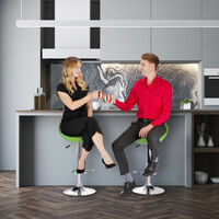 Relaxdays Bar Stool Set of 2, Height-Adjustable, Swivel, 120 kg, Metal Bistro Chair, HxWxD: 99 x 46 x 39 cm, Pink