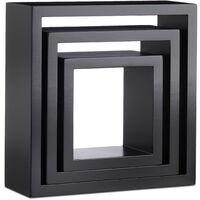 Relaxdays Cube Wall Shelf Set of 3, Cube Bookcase, Square MDF Floating Shelves, Various Sizes; Black