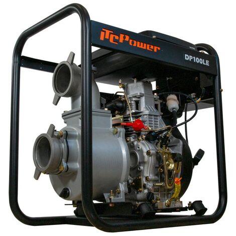 Motobomba DP100LE-ITC POWER Diesel 100 mm con arranque electrico, con un caudal de 96 m3/h-1600 L/min, y una altura máxima de 39 m.