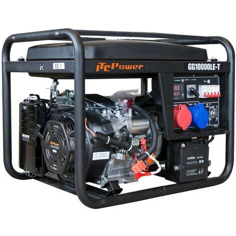 ITCPOWER - Generador Gasolina IT-GG10000LET Full Power 7/7,5 Kw a 230v, 8,8Kva/9,4Kva a 400v. Arranque eléctrico. Panel digital LED 5