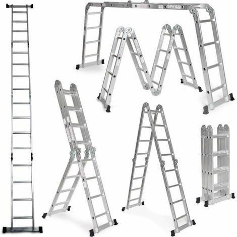 Grandmaster - Escalera De Aluminio Plegable 575cm, Multifuncional 6 En 1, Carga Máxima 150kg, Diseño Antideslizante, Tamaño Plegado 149x35x29cm