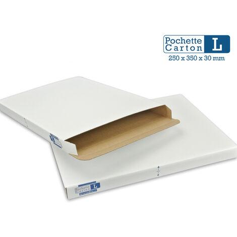 Lot de 25 Boîtes Pochettes Carton L - hauteur 3cm - format 254x356 mm