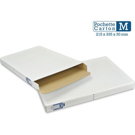 Lot de 25 Boîtes Pochettes Carton M - hauteur 3cm - format 215x335 mm