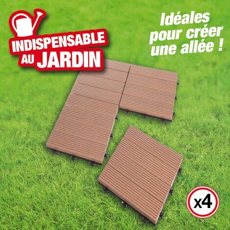 Lot de 4 dalles en bois composite - clipsable, pour terrasse et allée, brun exotique