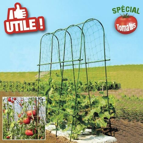 Serre à tomates avec arceaux et filet de protection - longueur 1,80 mètres