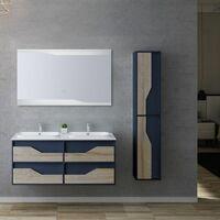 Meuble de salle de bain URBINO 1200 Scandinave et Bleu Saphir