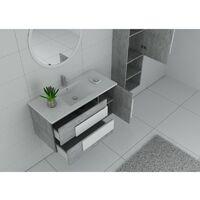 Meuble salle de bain CASTELLO 1000 Béton et blanc