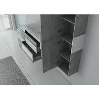 Meuble de salle de bain ARCOLA Béton et Blanc