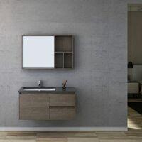 Meuble salle de bain BERGAME 1000 Chêne Gris