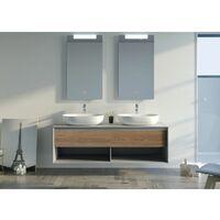 Meuble de salle de bain BALVANO 1400 Scandinave Vintage et gris