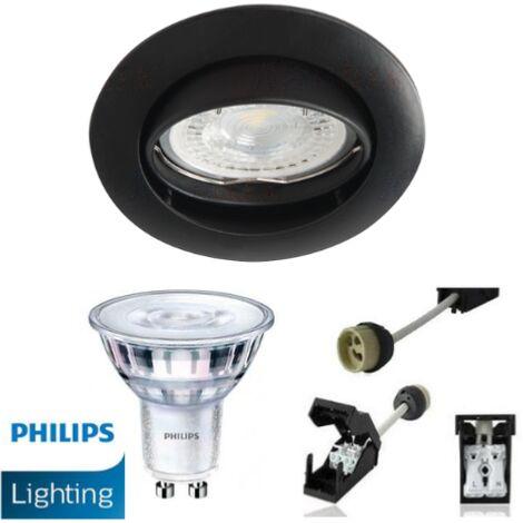 Spot Led GU10 Encastrable Noir mat équipé LED Philips 5W dimmable 2700K